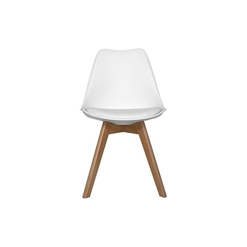Set da 4 X Sedia MODERNA ELEGANTE Bianca con gambe in legno di Faggio e seduta imbottita