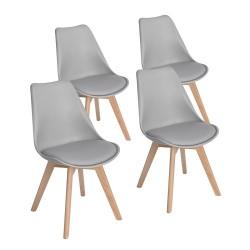 Set da 4 X Sedia MODERNA ELEGANTE Grigio con gambe in legno di Faggio e seduta imbottita