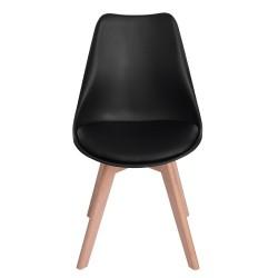 Set da 4 X Sedia MODERNA ELEGANTE Nero con gambe in legno di Faggio e seduta imbottita