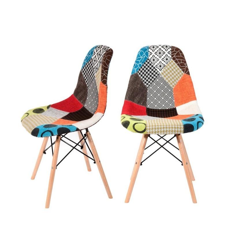 Sedia design modello dsw con gambe in legno di faggio for Sedia design patchwork