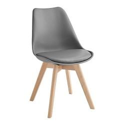 Sedia MODERNA ELEGANTE Grigio con gambe in legno di Faggio e seduta imbottita