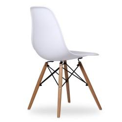 Sedia design modello Dsw con gambe in legno di Faggio  Bianca Nera
