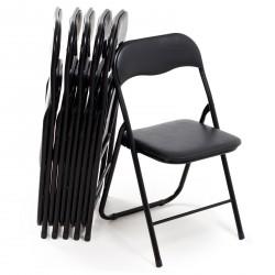 Sedia pieghevole stile moderno in metallo leggera e resistente colore nero